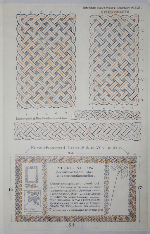 George Bain Drawing - Mosaic Pavement, Roman villa, Chedworth and Roman Pavement, Itchen Abbus, Winchester.