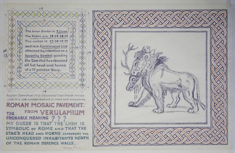 George Bain Drawing - roman Mosaic Pavement from Verulamium.
