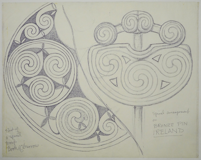 George Bain Drawing - Part of a Spiral Group from Book of Durrow.