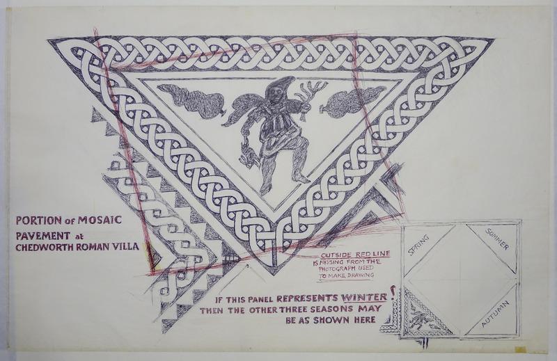 George Bain Drawing - Portion of Mosaic pavement at Chedworth roman Villa.