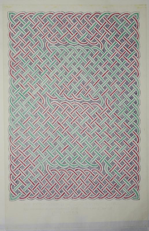 George Bain Drawing -Knot-work panel.