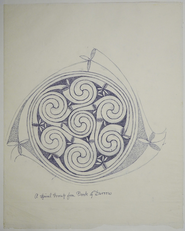 George Bain Drawing - A Spiral Group from Book of Durrow.
