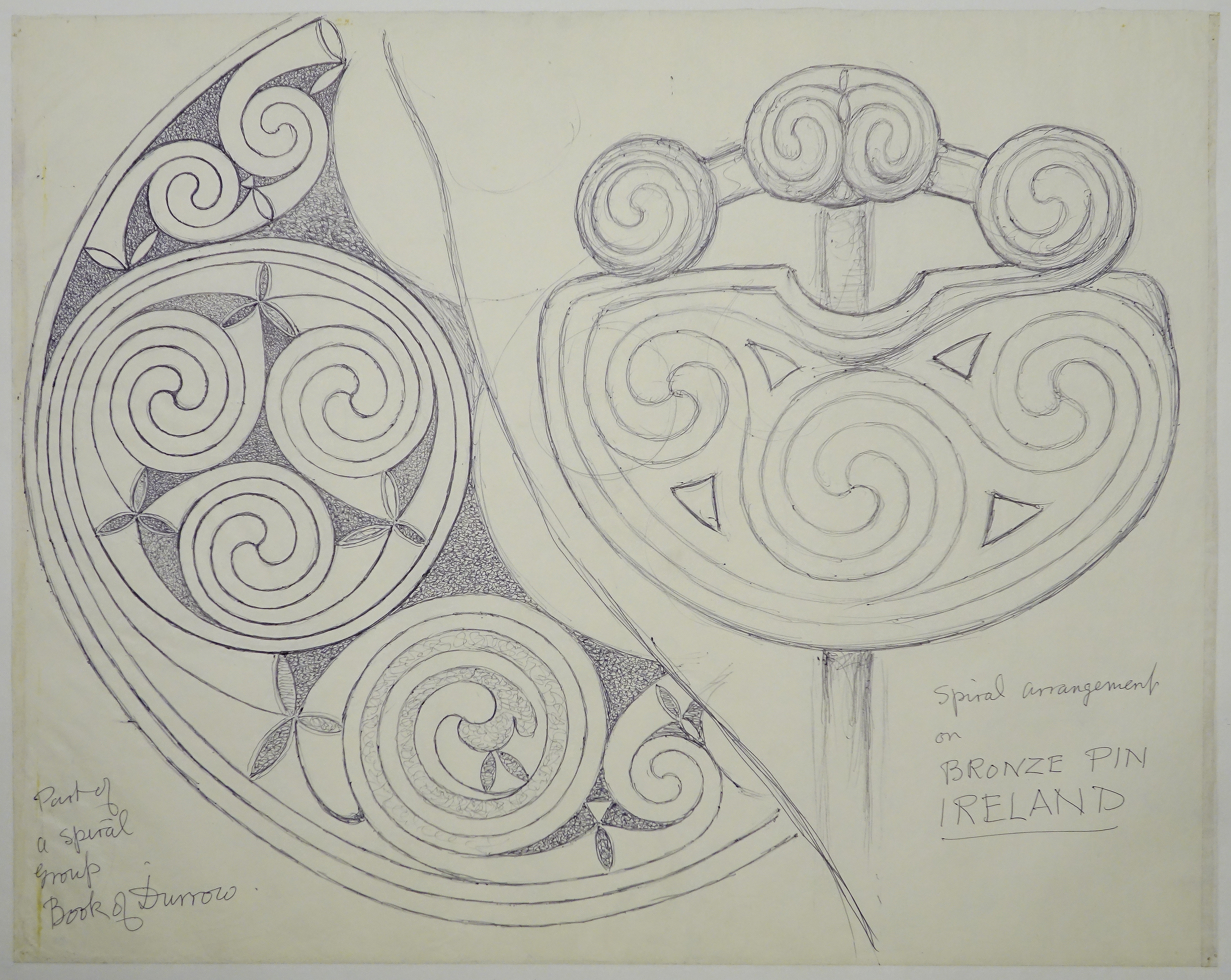 George Bain Drawing - Part of a Spiral Group from Book of Durrow ...
